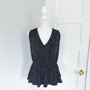 Banana Republic V-Neck Peplum Tank Navy Blue Dots